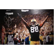 "20""x16"" Canvas ""Hands Up for Touchdown"" Autographed by Jermichael Finley (#88)"