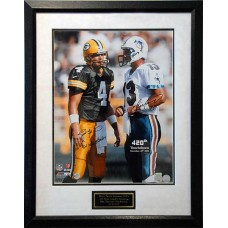 "421 TD Record 16"" x 20"" (Framed) Autographed by Brett Favre (#4) & Dan Marino (#13)"