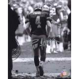 "16"" x 20"" Photo ""Tunnel Run (B&W Version)"" Autographed by Brett Favre (#4)"