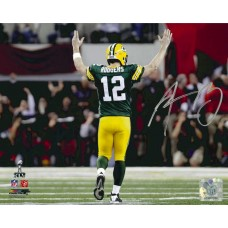 "8"" x 10"" Photo ""Hands up for a TD"" Autographed by Aaron Rodgers (#12)"