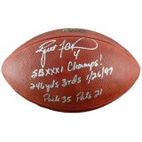 Official NFL Football with SB XXXI Champs w/ Game Stats Autographed by Brett Favre