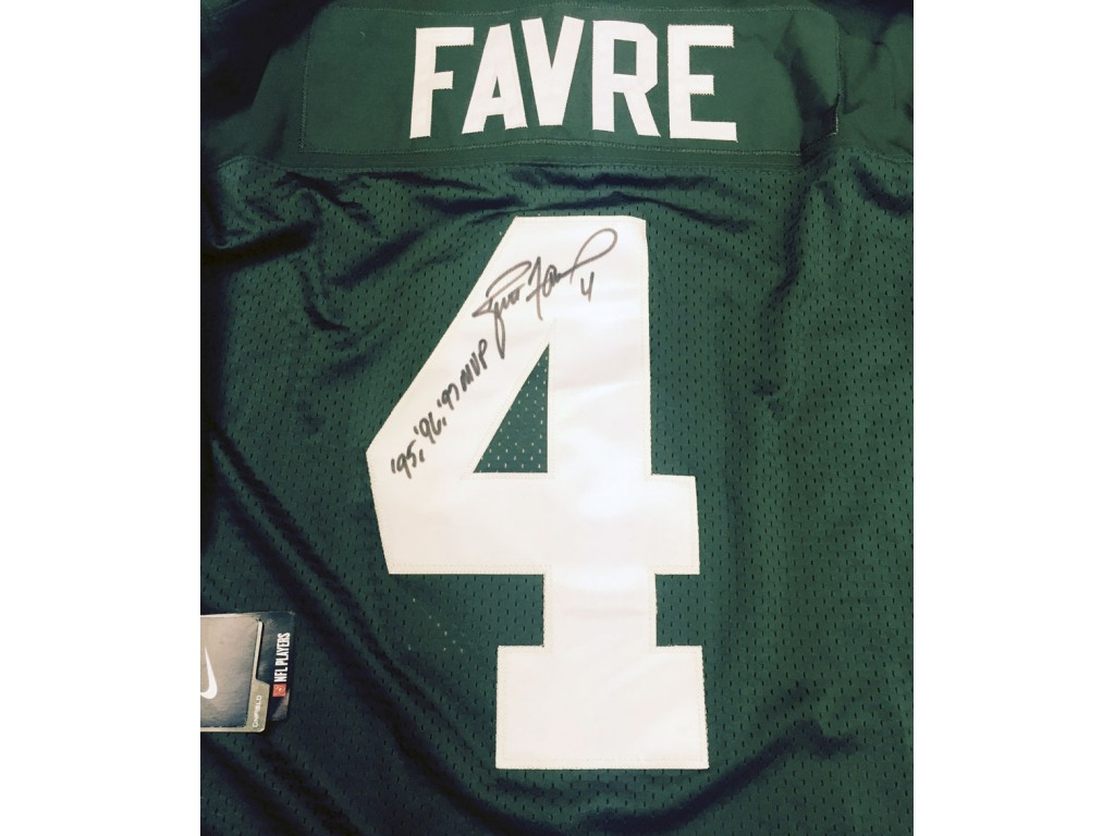best website 213ab 2102c Packers Home MVP Jersey Autographed by Brett Favre (#4)