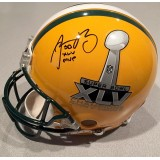Packers Super Bowl XLV Full Size MVP Helmet Autographed by Aaron Rodgers