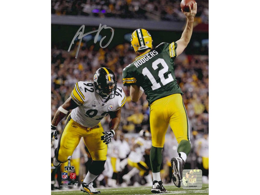 8 X 10 Photo Super Bowl XLV Throw Autographed By Aaron Rodgers 12
