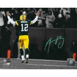 "16""x20"" Photo ""B&W Hands up for a TD"" Autographed by Aaron Rodgers (#12)"
