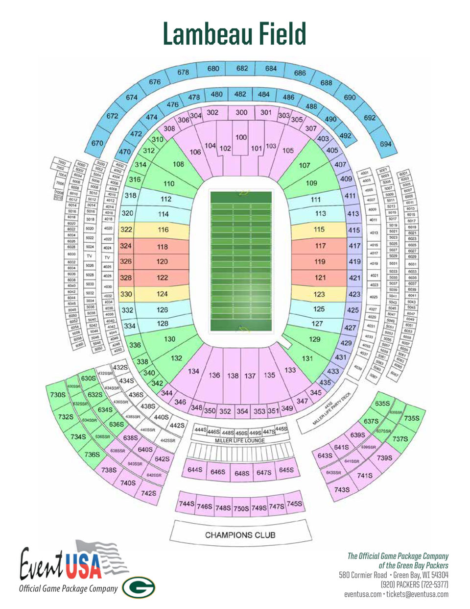 Lambeau Field Seating Chart Packers Tickets At Packer