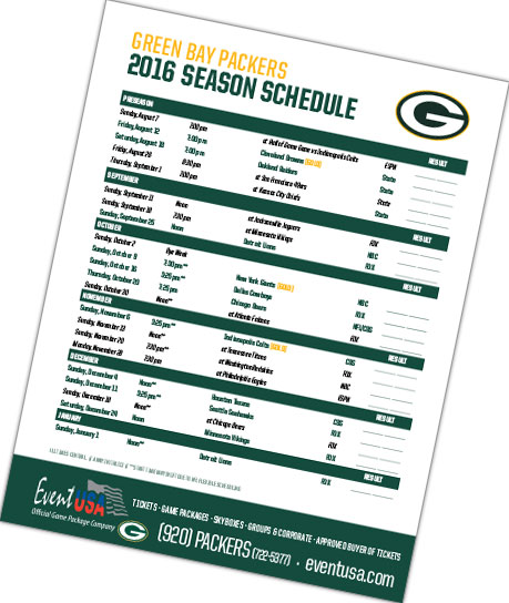 Event Usa Packers Tickets And Game Packages 2016 Packers