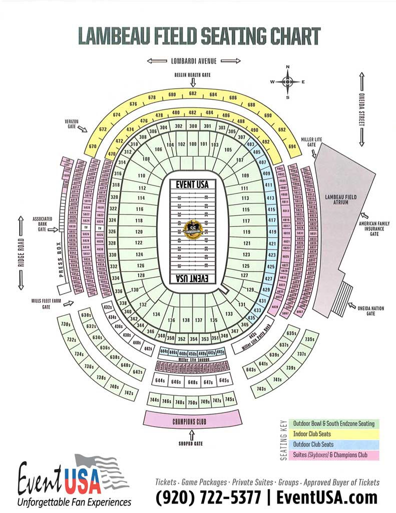 Lambeau Field Seating Map Event USA (Packers Tickets and Game Packages) | Lambeau Field